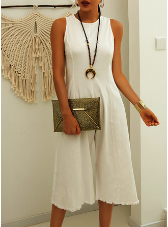 Midi Round Neck Polyester Solid Sleeveless Fashion Dresses