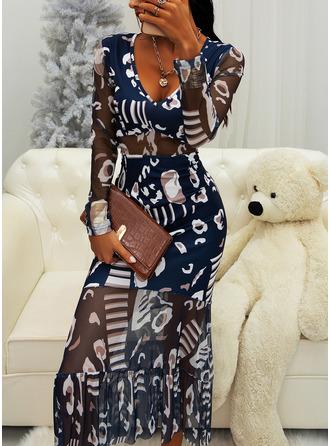 Imprimeu Bir Çizgi Mâneci Lungi Midi Zarif Patenci Moda Elbiseler