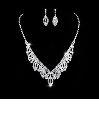 Senhoras Chic Strass com Rodada Conjuntos de jóias