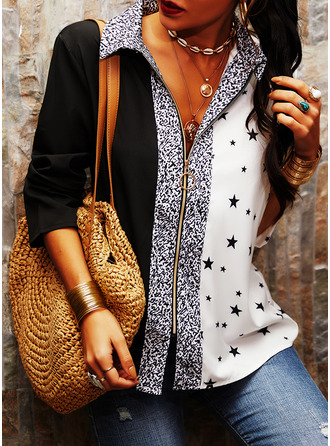 Color Block Print Sequins V-Neck Long Sleeves Casual Blouses