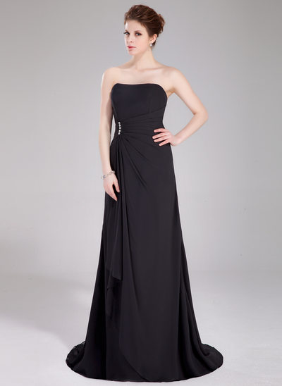 A-Line/Princess Sweetheart Sweep Train Chiffon Bridesmaid Dress With Beading Cascading Ruffles