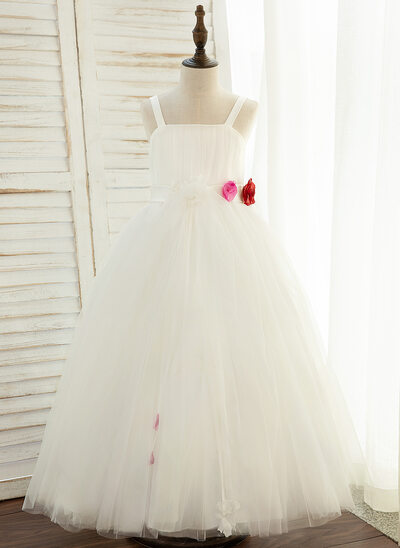Ball-Gown/Princess Ankle-length Flower Girl Dress - Satin/Tulle Sleeveless With Flower(s)/Bow(s)