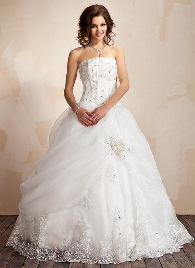 Corte de baile Estrapless Hasta el suelo Satén Organdí Vestido de novia con Volantes Encaje Bordado Flores