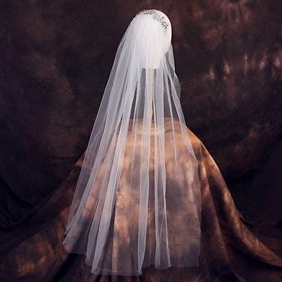 Einschichtig Schnittkante Ellenbogen Braut Schleier mit Strasssteine