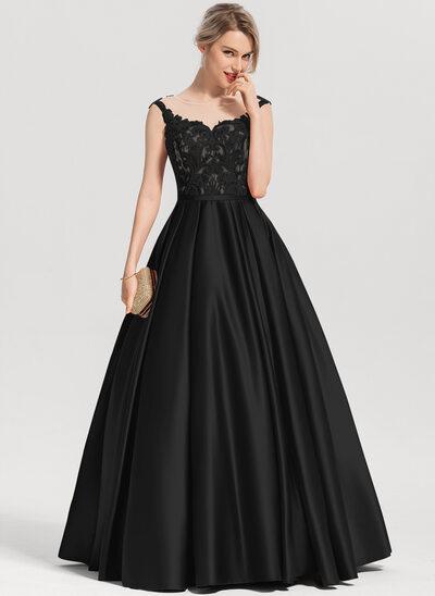 Платье для Балла/Принцесса Круглый Длина до пола Атлас Платье Для Выпускного Вечера с блестки