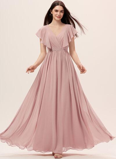 A-Linie V-Ausschnitt Bodenlang Chiffon Brautjungfernkleid mit Schlitz Vorn