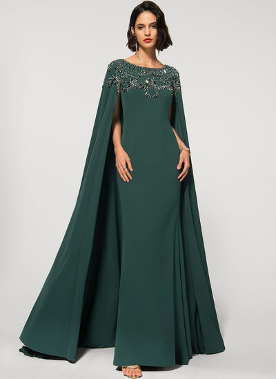A-Line Scoop Neck Sweep Train Stretch Crepe Evening Dress With Beading