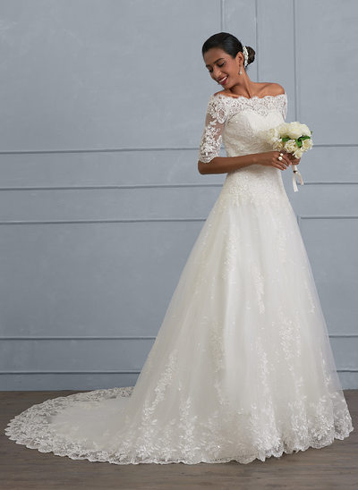Ball-Gown Off-the-Shoulder Court Train Tulle Lace Wedding Dress With Beading Sequins