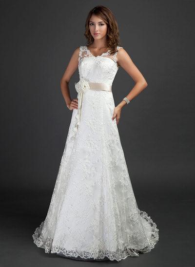 A-linjeformat V-ringning Court släp Spets Bröllopsklänning med Skärpband Beading Blomma (or)