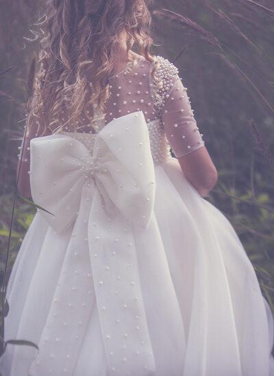 Платье Для Балла/Принцесса Длина по щиколотку Нарядные платья для девочек - Тюль Рукав 1/2 Круглый