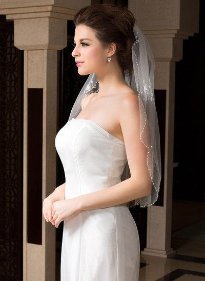 Einschichtig Ellenbogen Braut Schleier mit Perlenbesetzter Saum