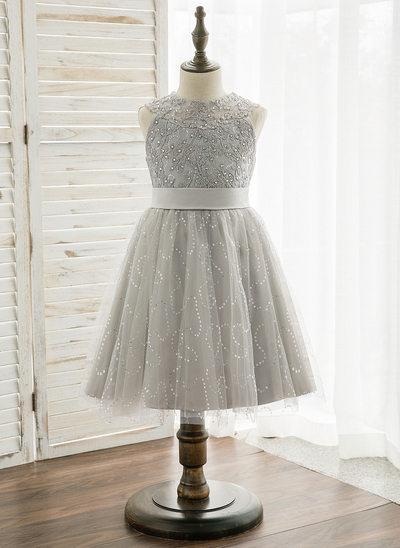 Çan/Prenses Diz Hizası Çiçek Kız Elbise - Tül/Dantel Kolsuz Yuvarlak Yaka Ile boncuklu kısım