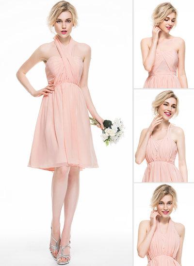 A-Line/Princess Sweetheart Knee-Length Chiffon Bridesmaid Dress With Ruffle