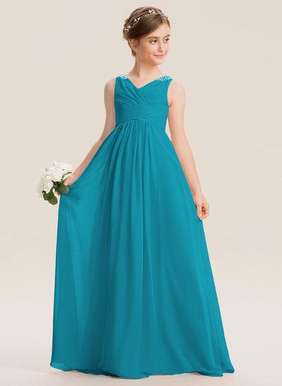 Império Decote V Longos Tecido de seda Vestido de daminha júnior com Pregueado Beading lantejoulas