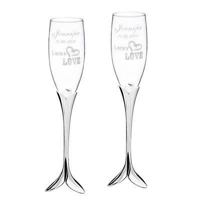 Marié - Personnalisé Élégante Verre Flûtes à Champagne (Lot de 2)