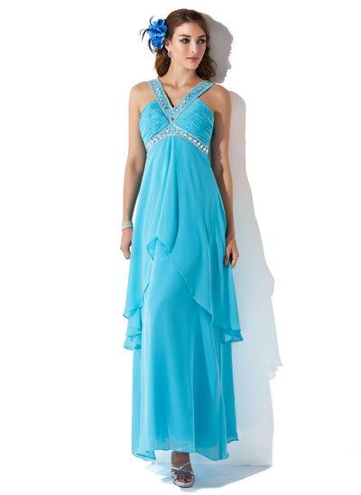 Трапеция/Принцесса V-образный Длина по щиколотку шифон Платье для Отдыха с Бисер Ниспадающие оборки
