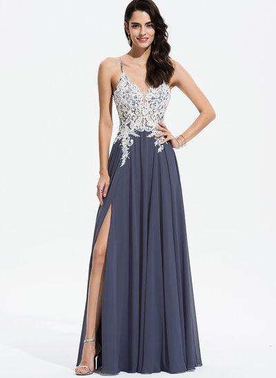 Corte A Decote V Longos Tecido de seda Vestido de baile com Renda Beading lantejoulas Frente aberta