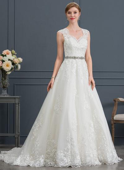 De Baile/Princesa Decote V Cauda de sereia Tule Vestido de noiva