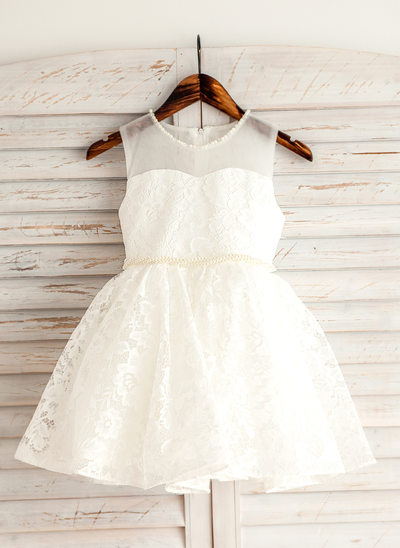 A-Line/Princess Short/Mini Flower Girl Dress - Lace Sleeveless Scoop Neck With Beading