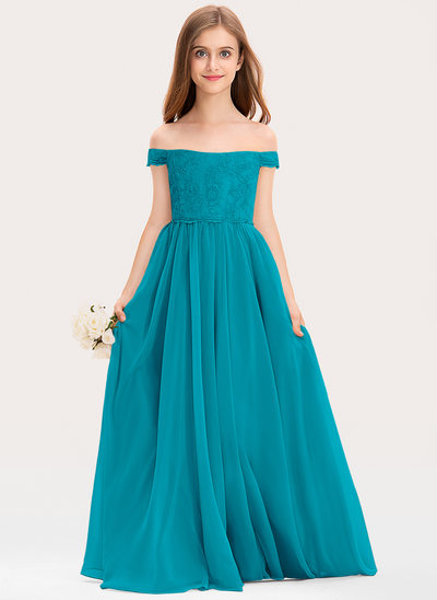 Corte A Off-the-ombro Longos Tecido de seda Renda Vestido de daminha júnior