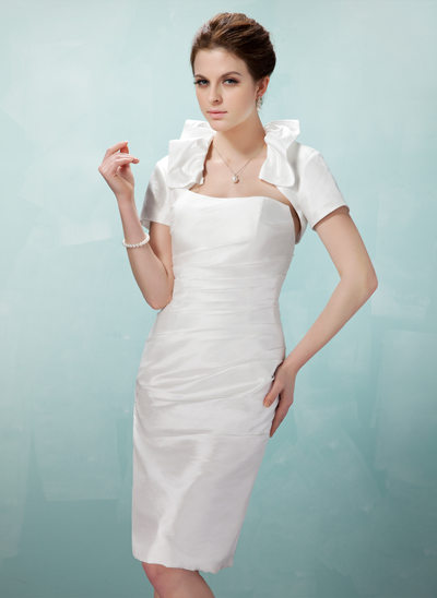 Sheath/Column Strapless Knee-Length Taffeta Wedding Dress With Ruffle