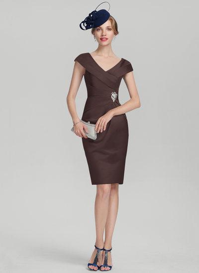 Sheath/Column V-neck Knee-Length Satin Mother of the Bride Dress With Ruffle Beading