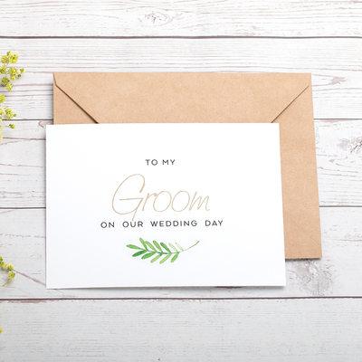 Groom Presenter - Modern Kort papper Bröllopsdagskort