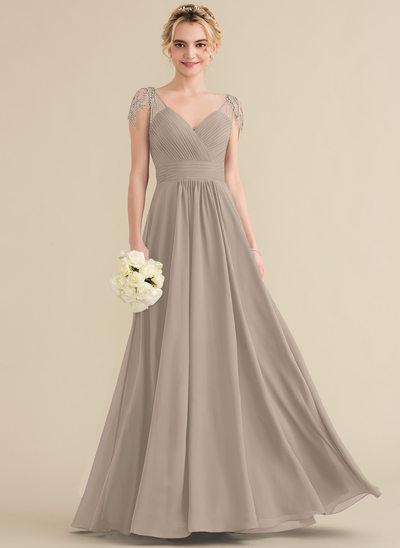A-Line/Princess V-neck Floor-Length Chiffon Bridesmaid Dress With Ruffle Beading Sequins
