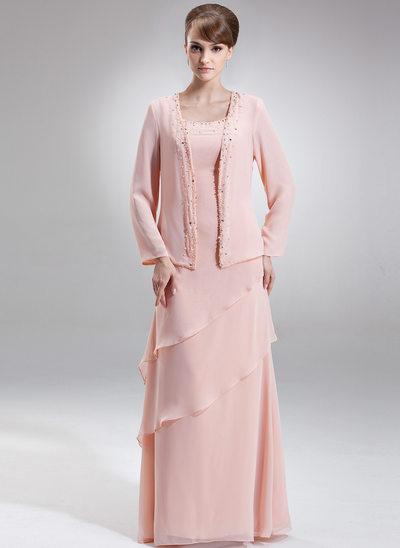 Çan/Prenses Yuvarlak Yaka Uzun Etekli Chiffon Gelin Annesi Elbisesi