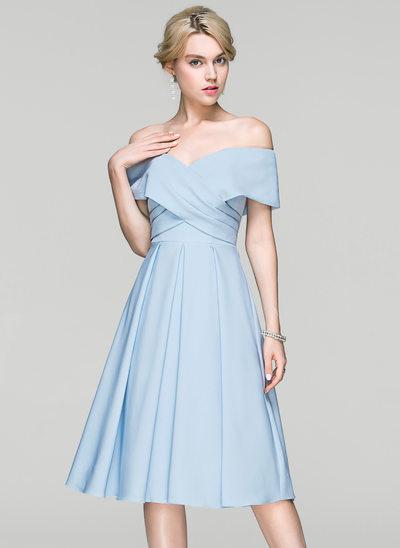 Forme Princesse Hors-la-épaule Longueur genou Satiné Robe de cocktail avec Plissé