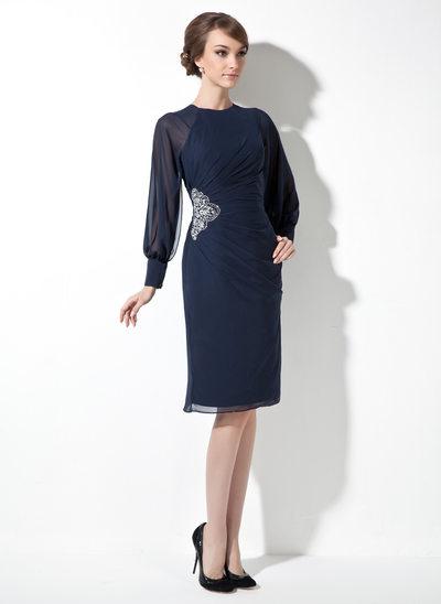 Etui-Linie U-Ausschnitt Knielang Chiffon Kleid für die Brautmutter mit Rüschen Perlen verziert