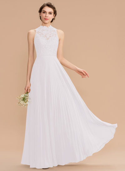 A-Line Scoop Neck Floor-Length Chiffon Lace Bridesmaid Dress With Pleated