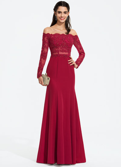 Trumpet/Mermaid Off-the-Shoulder Floor-Length Stretch Crepe Prom Dresses With Beading
