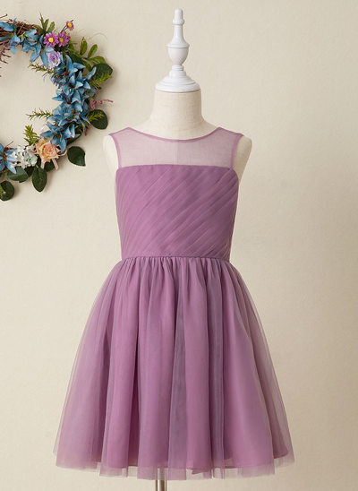Áčkové Šaty Po kolena Flower Girl Dress - Tyl Bez rukávů Scoop Neck S Krajka