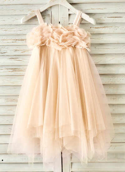 Forme Princesse Longueur genou Robes à Fleurs pour Filles - Tulle Sans manches Bretelles avec Brodé