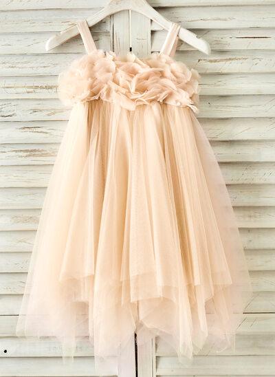 Vestidos princesa/ Formato A Coquetel Vestidos de Menina das Flores - Tule Sem magas alças de ombro com Beading