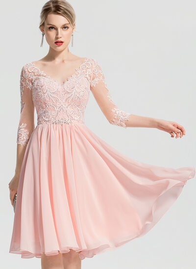 A-Line V-neck Knee-Length Chiffon Wedding Dress With Beading