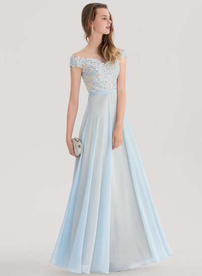 A-Line/Princess Off-the-Shoulder Floor-Length Chiffon Prom Dress With Beading