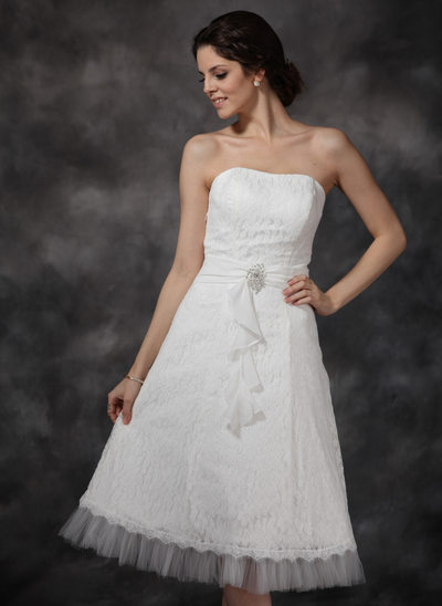 A-Line/Princess Sweetheart Knee-Length Chiffon Tulle Lace Wedding Dress With Ruffle Crystal Brooch Cascading Ruffles