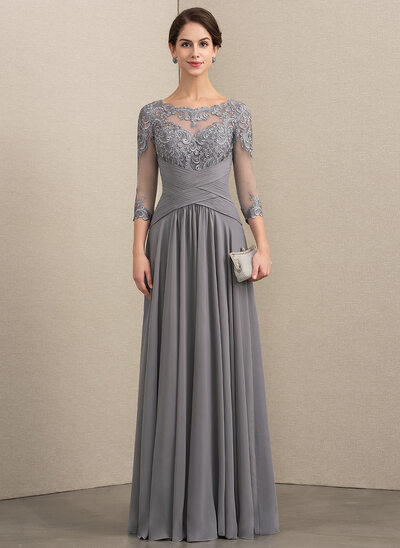A-Line Scoop Neck Floor-Length Chiffon Lace Evening Dress With Ruffle