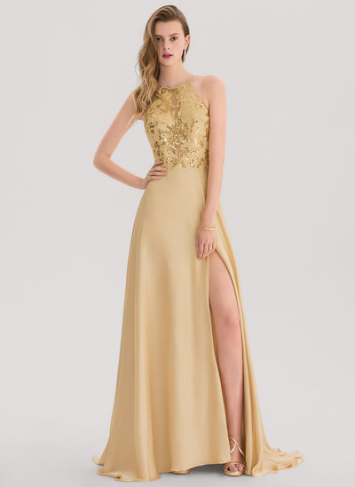 A-Line/Princess Scoop Neck Sweep Train Chiffon Prom Dress With Split Front