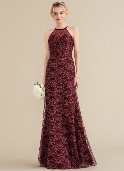 A-Line/Princess Scoop Neck Floor-Length Lace Bridesmaid Dress