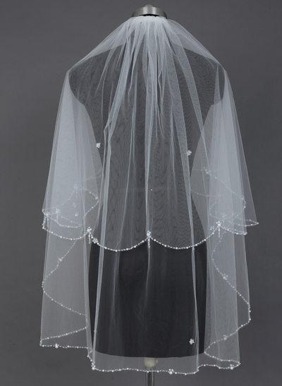 Zweischichtig Fingerspitze Braut Schleier mit Perlenbesetzter Saum