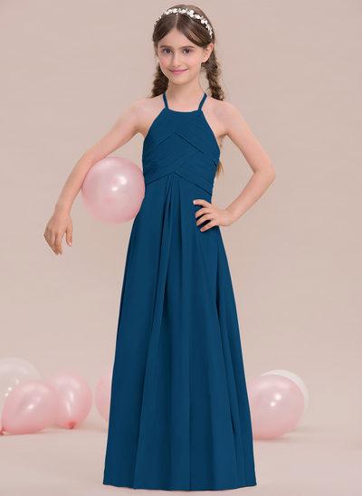 A-Lijn/Prinses Ronde Hals Vloer lengte De Chiffon Junior Bruidsmeisjes Jurk met Roes