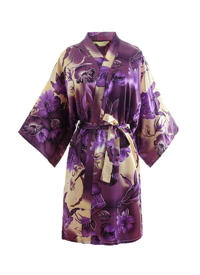 Bride Bridesmaid Polyester With Short Floral Robes Kimono Robes
