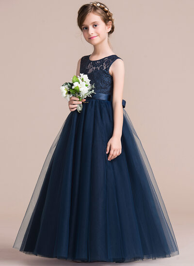 Ball-Gown/Princess Scoop Neck Floor-Length Tulle Junior Bridesmaid Dress With Sash