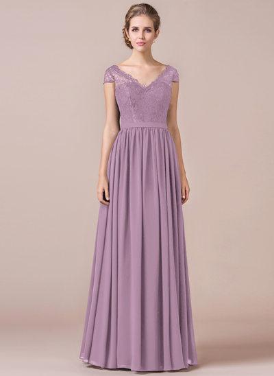 Vestidos princesa/ Formato A Decote V Longos Tecido de seda Vestido de baile
