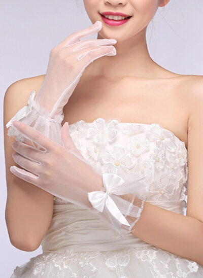 Voile Wrist Längd Handskar Bridal med Broderi
