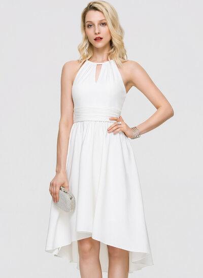 A-Line Scoop Neck Asymmetrical Stretch Crepe Cocktail Dress