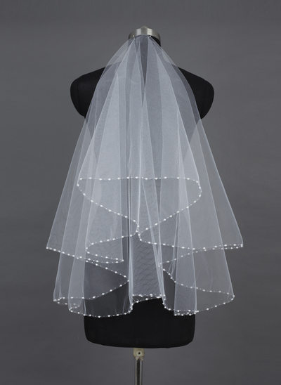 One-tier Fingertip Bridal Veils With Pearl Trim Edge